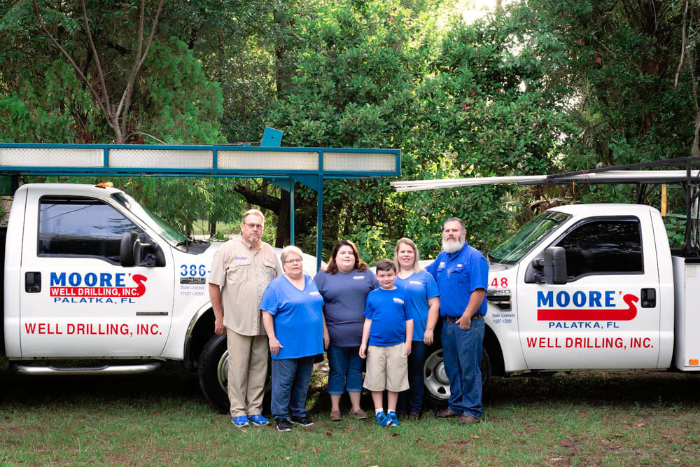 In business for more than 60 years, Moore's Well Drilling includes L to R: Ronald Moore, president; wife Mary Sue, office/field assistant; daughter Katie, assistant office manager; grandson Branson; daughter Tabatha, office manager; and son-in-law Chris Westberry, operations manager.